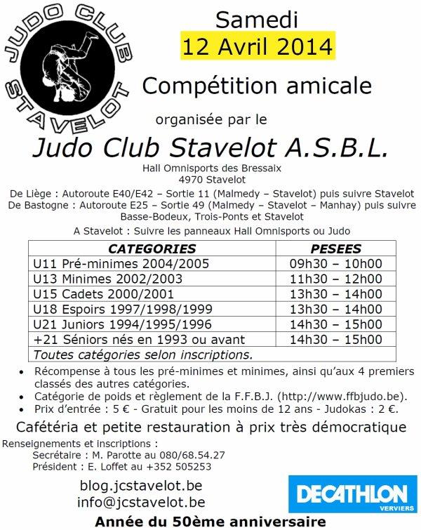 Invitation... Le Tournoi Compétition Amicale2014 du Judo Club Stavelot asbl... à Stavelot