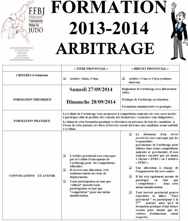 Information sur la formation 2014 d'arbitre F.F.B.J pour la Cellule d'Arbitrage...