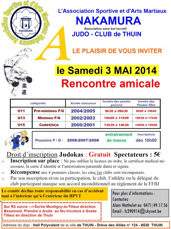 Rappel... Invitation au Tournoi Amical du Judo Club Nakamura de Thuin...