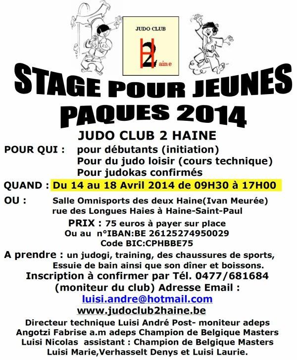 Invitation... Un Stage de Judo lors des vacances de Pâques chez nos amis du Judo Club 2Haine...