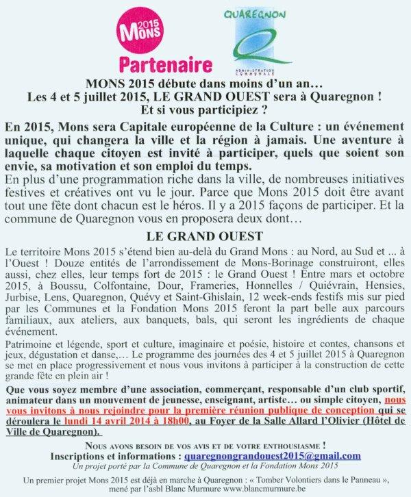 """Invitation faite à notre club à participer au Projet """"Mons 2015 Capitale européenne de la Culture""""..."""