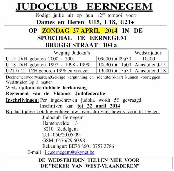 Invitation du Judo Club Eernegem à leur 12 ème Tournoi au Sporthall de Eernegem...