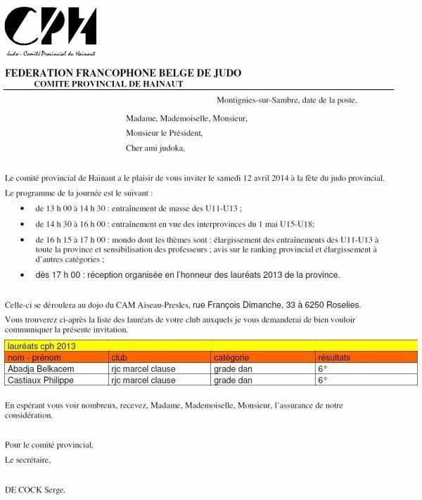 Invitation du Comité Provincial de Hainaut (C.P.H.) à la Fête du Judo....