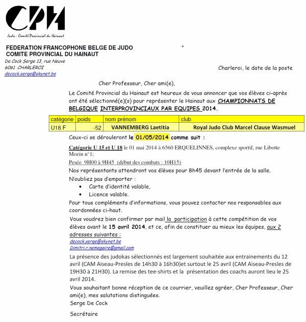 CONVOCATION... Pour la grosse Laetitia sélectionnée pour les Championnats de Belgique 2014 équipe CPH