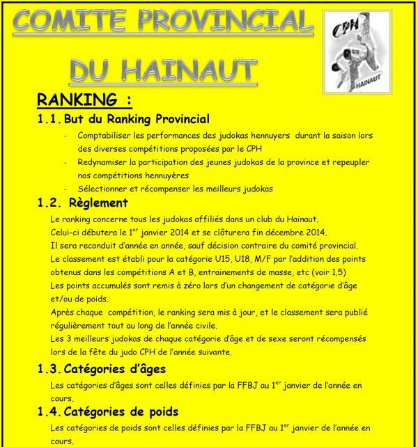 Information et explication du principe du Ranking Provincial C.P.H. pour les catégories U15 et U18...