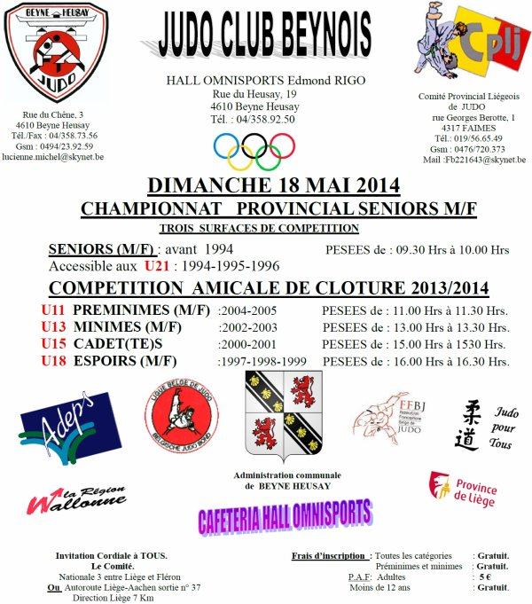 Invitation... Championnats Provincial Liégois et Compétition Amicale du Judo Club Beynois...