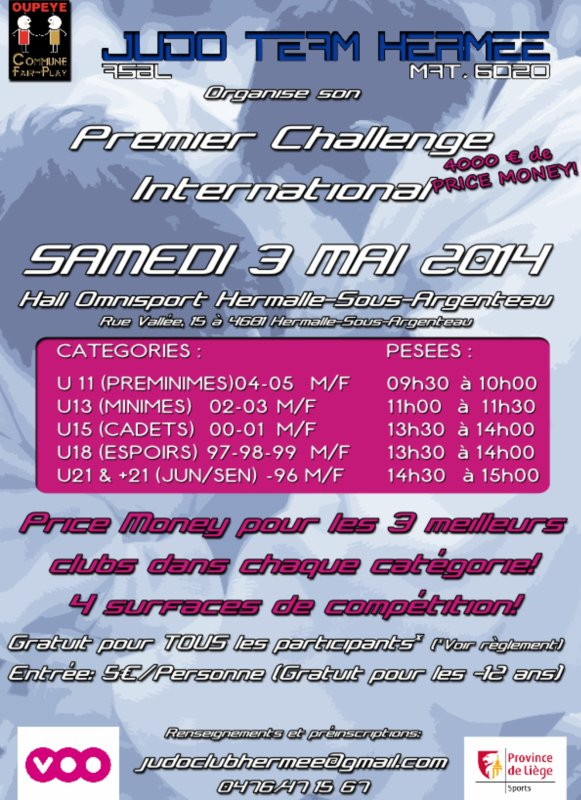 Invitation... Premier Challenge International Judo Team Hermee 2014 à Hermee...