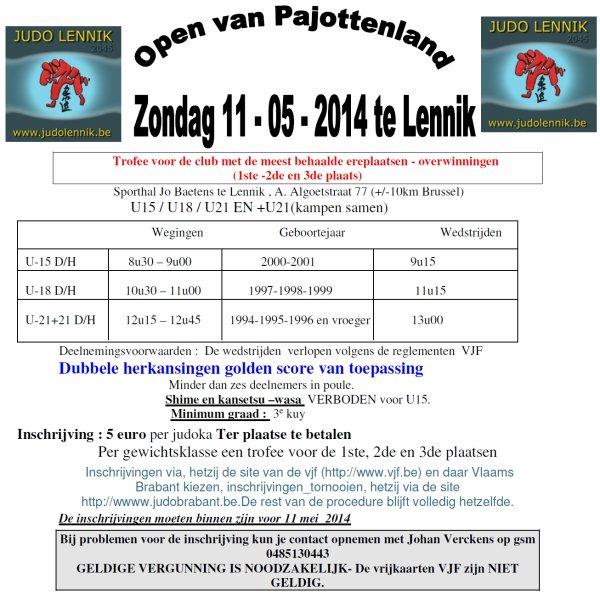 Invitation... Het Tornooi Open Van Pajottenland 2014 Judo Lennik à Lennik...