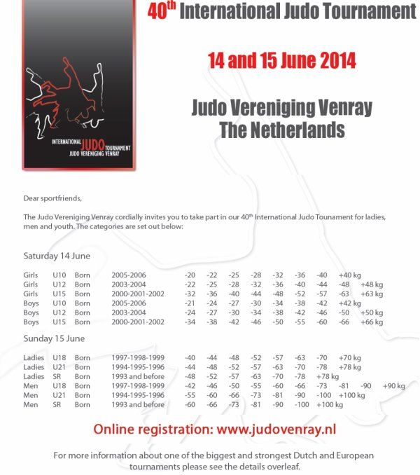 Le 40 ème Tournoi International Judo 2014 de Venray en Hollande...