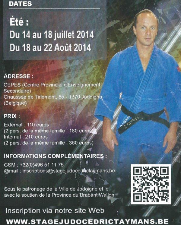 Le Stage International de Judo Cédric Taymans 2014 pour les vacances d'été à Jodoigne...