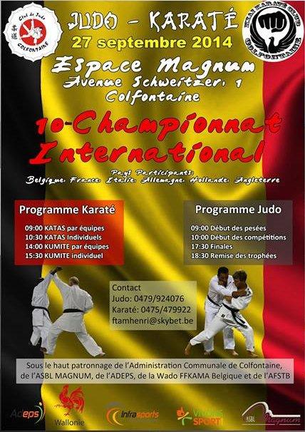 """Invitation à une compétition de Judo """"Championnat International 2014"""", dans l'entité de Colfontaine..."""