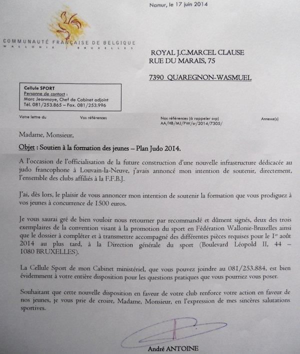 Petite information de notre ami Dédé, Ministre des Sports de la Fédération Wallonie-Bruxelles...