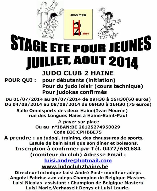 Deux Stages de Judo pour cet été chez nos amis du Judo Club Deux Haine...