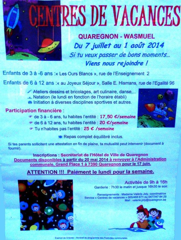 L'entité de Quaregnon-Wasmuel propose aux plus jeunes des Centres de Vacances...