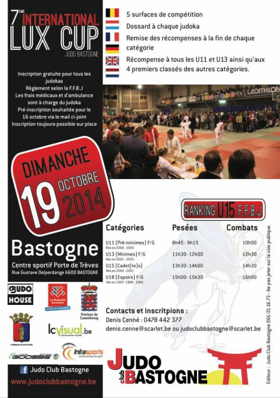 "Le Tournoi ""7 ème INTERNATIONAL LUX CUP 2014"" du Judo Club Bastogne..."
