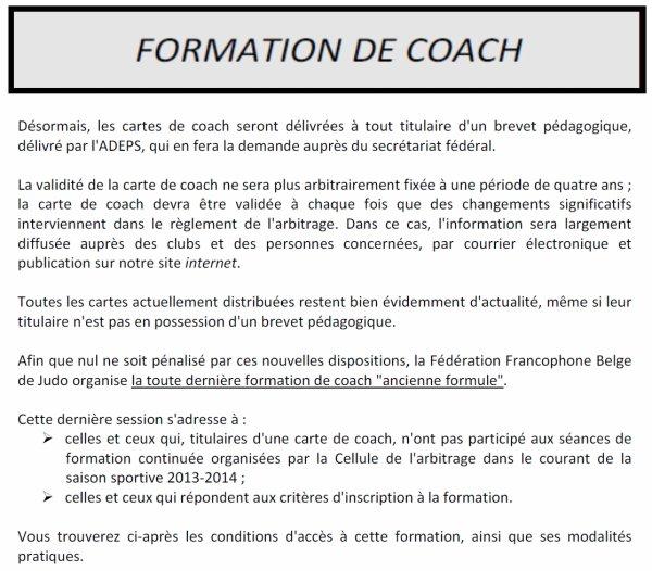 Information de la F.F.B.J. pour la formation de coach et la carte de coach nouvelle formule...