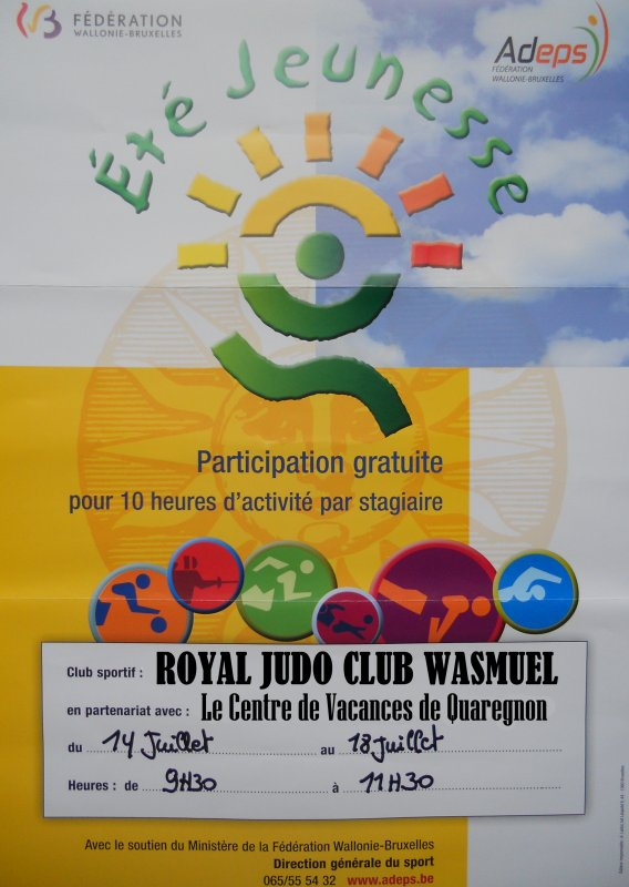 Le Royal Judo Club Marcel Clause Wasmuel organise un stage de découverte et d'initiation au Judo...