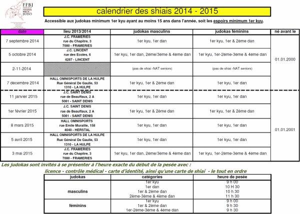 Les dates & lieux des Tsukinami Shiai et Koten shiai F.F.B.J. de la nouvelle saison sportive 2014-2015...