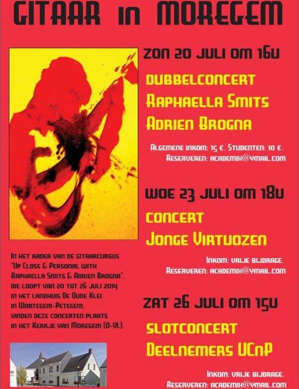 "PUB Invitation de notre ami Judoka-Guitariste Adrien Brogna ""GITAAR in MOREGEM"" 20, 23 & 26 juli 2014..."