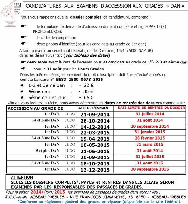 Tableau des candidatures aux passages de grades Dan FFBJ pour la saison Judo 2015-2015...