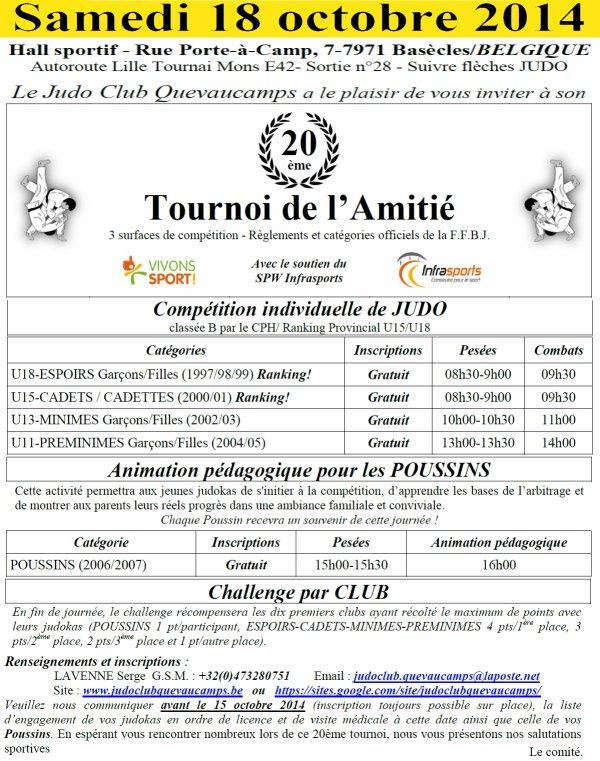 """Invitation à la compétition """"Tournoi de l'Amitié 2014"""" du Judo Club Quevaucamps à Basècles..."""