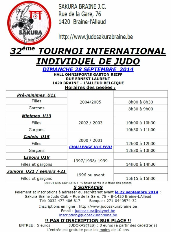 "Invitation au ""32 ème Tournoi International 2014"" du Judo Club Sakura à Braine-l'Alleud..."