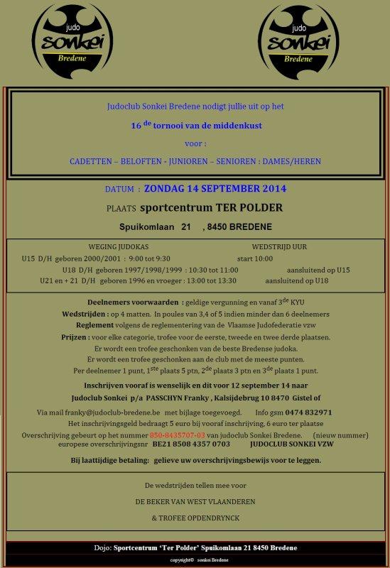 """Invitation au Tournoi """"De 16e tornooi van de middenkust 2014"""" 13 sept & 14 sept à Bredene..."""