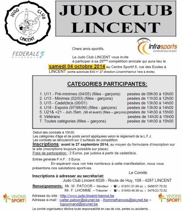 Invitation de notre ami Hervé du Judo Club Lincent à la 26 édition de leur compétition amicale 2014 de Judo...