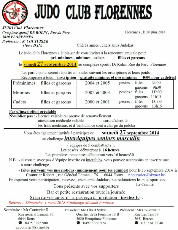 Invitation à la Rencontre Amicale 2014 et Interéquipes Masculin du Judo Club Florennes...