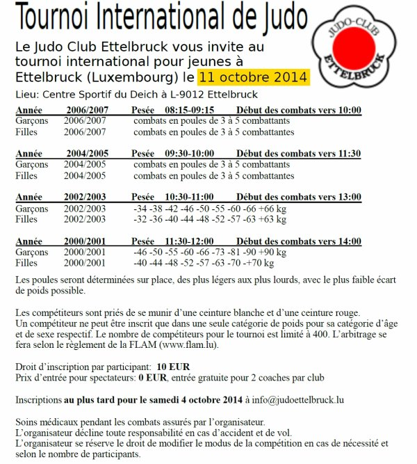 "Invitation pour le ""Tournoi International de Judo 2014"" du Judo Club Ettelbruck au Luxembourg..."