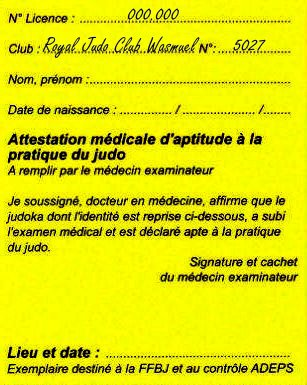 Note de la Fédération à l'attention de ses membres : L'importance de l'attestation médicale...