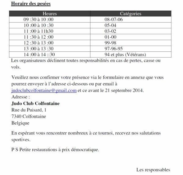 """Invitation au """"10 ème Championnat International JUDO 2014"""" de nos amis du JC Colfontainois à l'Espace Magnum..."""