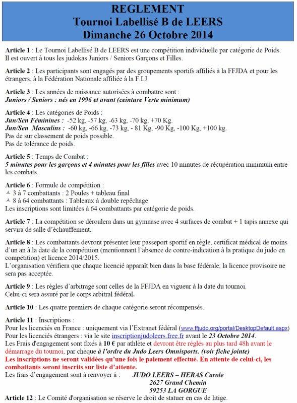 "Invitation au 26 ème ""Tournoi International de Judo 2014"" du Judo Leers Omnisports (Labélisé B par la FFJDA)..."