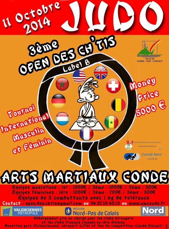 """Invitation de nos amis du club Art Martiaux Condé à leur Tournoi InterÉquipes """"3 ème Open des Ch'tis 2014""""..."""