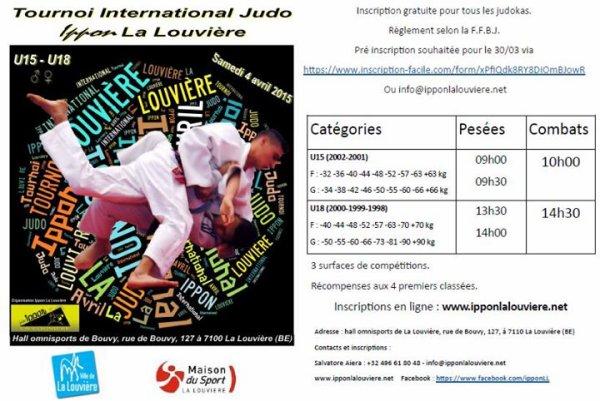Invitation de notre ami Salvatore au Tournoi International Judo 2015 de l'Ippon La Louvière...