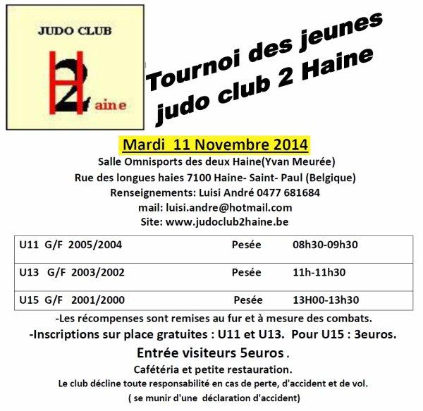 """Invitation de notre ami André au """"Tournoi des Jeunes 2014"""" du Judo Club 2Haine à Haine-Saint-Paul..."""