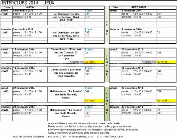 Dates et Lieux des Inter-Clubs 2014 de la F.F.B.J.