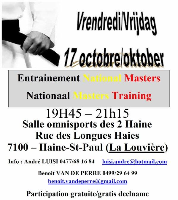 Invitation ce vendredi à l'Entrainement National Masters (+30) à Haine-Saint-Paul...