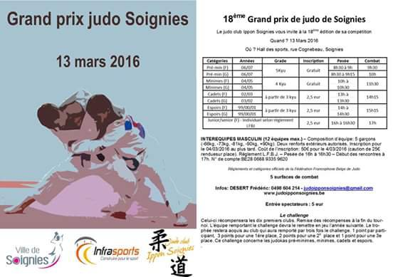 Informations tournoi international de soignies