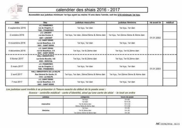 Nouveau calendrier des shiais 2016-2017