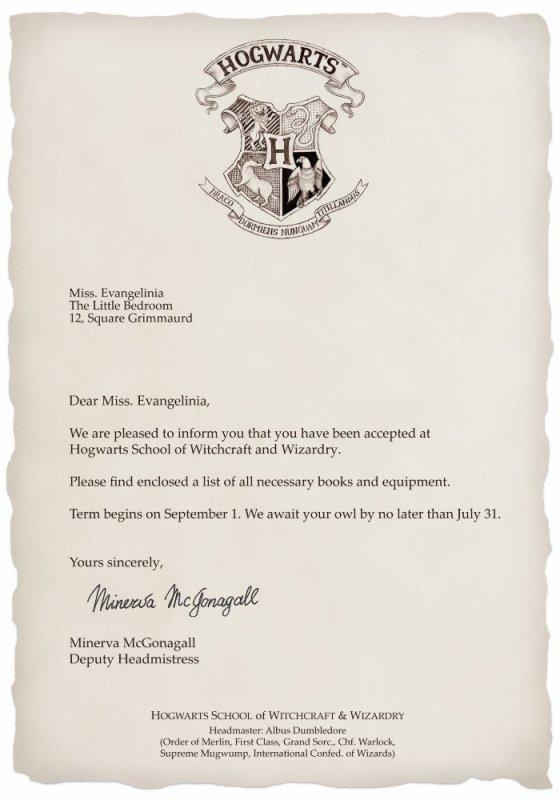Lettre d'admition à Poudlard