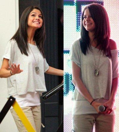 petite parentese ..........Selena Gomez continue sa tournée pour la promotion du film Monte Carlo et s'habille principalement d'ungigantesque sourire ! Avec, tout de même, un look casual et simple