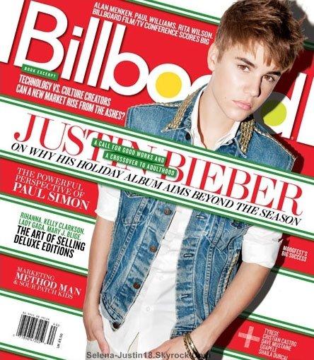 MAGAZINE JUSTIN.B                                      --                                                 A l'occasion de la sortie de « Under The Mistletoe » au mois de novembre prochain, Justin Bieber sera en couvert du grand magazine le « Billboard ».Le photoshoot a vraiment l'air stylé