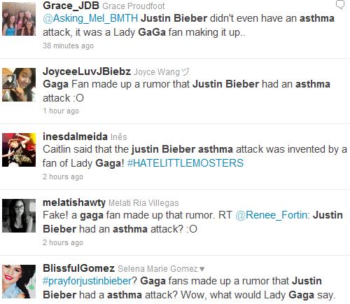 Mardi 22 Novembre 2011                              La nouvelle explose sur Internet. Justin Bieber aurait été emmené à l'hôpital après une douloureuse crise d'asthme . Sur Twitter, c'est avec le hastag #prayforbieber que d'innombrables admirateurs s'inquiètent de l'état de santé de leur chanteur canadien préféré. Certains, soucieux mais optimistes, lui souhaitent un bon rétablissement tandis que d'autres, bien plus émotifs, prennent vraiment à c½ur cette affaire en lui écrivant de longs messages d'amour.Le jeune homme serait peut-être une énième fois victime d'une rumeur lancée par un mauvais plaisantin. En effet, Justin Bieber serait hospitalisé à cause d'un fan de Lady Gaga . Qu'en pensez-vous ?.