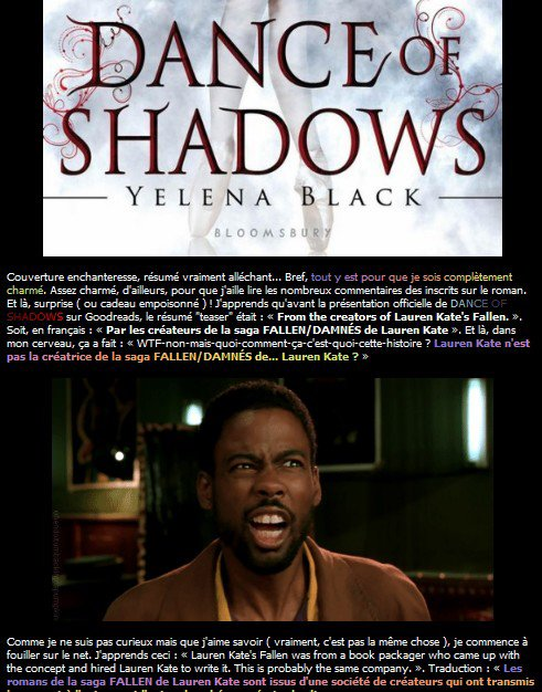 Présentation : Dance Of Shadows de Yelena Black