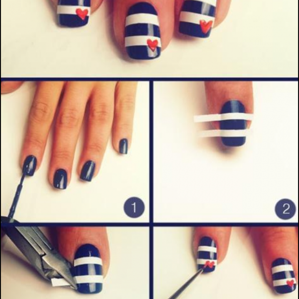 Un petit style marin sur les ongles !!