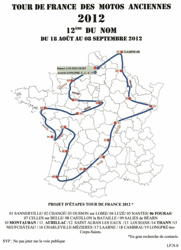 12ème TOUR DE FRANCE  motos anciennes 2012