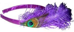 Cercle pour cheveux plume de paon violet