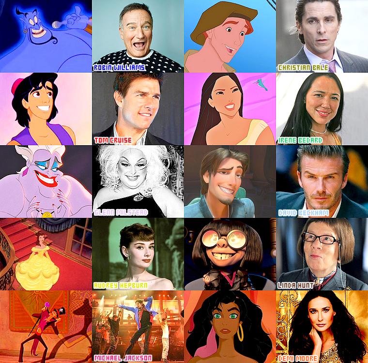 Quelques personnages Disney inspirés de véritables acteurs