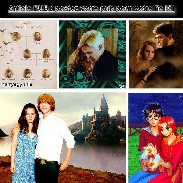 Publicités pour des fics sur le monde d'Harry Potter